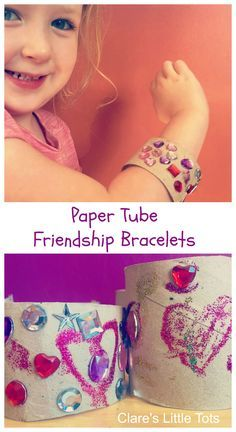 paper tube friendship bracelets. Fun craft for preschoolers to accompany the book 'Should I Share my Ice Cream?'