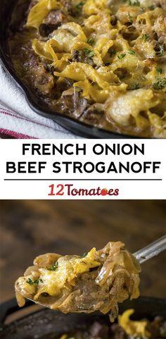 Cheesy French Onion Beef Stroganoff