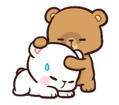 LINE Official Stickers - Milk & Mocha: Affection Example with GIF Animation Cute Cartoon Images, Cute Couple Cartoon, Cute Bear Drawings, Kawaii Drawings, Chibi Cat, Cute Chibi, Gif Lindos, Bear Gif, Hug Gif
