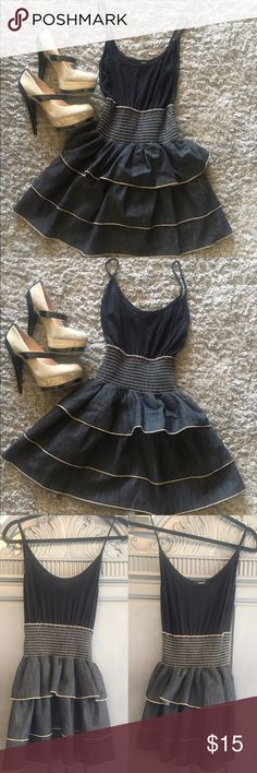 """Poetry Jean Dress Up for Sale Size: Small Jean Black & Tan Skater Dress. Looks cute with heels or flats! 28""""long 9""""across.  Comfy Cotton/Polyester/ Spandex blend dress. Poetry Dresses Midi"""