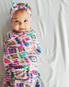 Rainbow Aztec Swaddle Blanket and Headband Set / by MilkmaidGoods