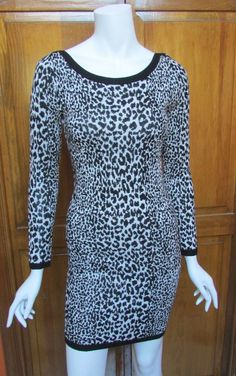 French Connection Animal Black & White  Print Sweater Dress Sz 6, 8 NWT #FcukFrenchConnection #SweaterDress