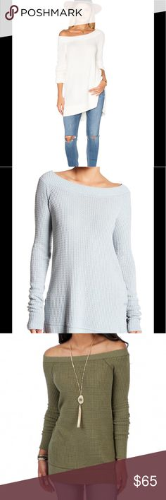 """NWT IVORY People Kate Thermal in White - I am Selling in IVORY other Color to Show Detail.  Boat Neck - Long sleeves - Thermal knit construction - Side slits - Hi-lo hem - Approx. 25"""" shortest length, 27"""" longest length (size S) - Imported Fiber Content 92% modal, 7% polyester, 1% spandex Care Machine wash cold Additional Info Fit: this style fits true to size.  Model's stats for sizing: - Height: 5'9"""" - Bust: 33"""" - Waist: 24"""" - Hips: 34"""" Model is wearing size S. Free People Tops Tees - Long…"""