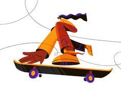 Skateboard by Darya Semenova on Dribbble Flat Illustration, Character Illustration, Graphic Design Illustration, Digital Illustration, Skateboard Design, Skateboard Art, Ideas Geniales, Global Design, Burton Snowboards