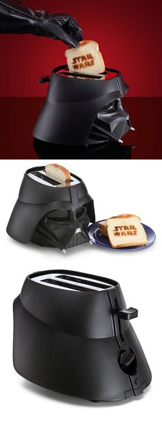 Darth Vader Toaster Force Brands your Bread Last year we talked a bit about a Darth Vader toaster that had turned up and burned the Vader helmet and Star Wars logo onto your bread. Another Darth Vader toaster has turned up and this one looks a little different. The latest has the toaster lever on the back rather than the side and only burns the Star Wars logo into your bread. - See more at: http://technabob.com/blog/2015/01/22/darth-vader-toaster/#sthash.K9CYgnFl.dpuf