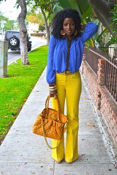 Style Pantry | Navy Style Cape + Chiffon Shirt + Yellow Bell Bottoms