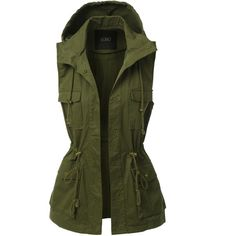 LE3NO Womens Military Anorak Cargo Hoodie Vest ($33) ❤ liked on Polyvore featuring outerwear, vests, anorak vest, anorak jacket, racerback vest, military inspired vest and military anorak