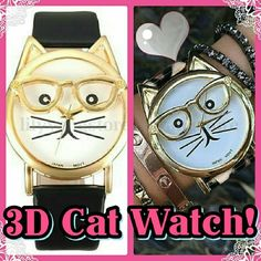 3D Kitty Watch! Adorable! His glasses stick out from the face of the watch! With a black band so it matches everything! Cute gift too for a cat lover! Boutique Accessories Watches