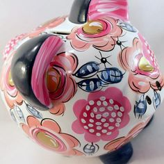 Personalized Ceramic Piggy Bank. Navy and Pink Floral