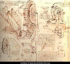 Drawings Of Water Lifting Devices - Leonardo Da Vinci  c.unknown Studio di sollevamento delle acque,con ruota di mulino