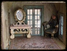 1:144 dresser tableminiature - dolls house - hand decorated - shabby chic