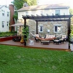 pergola designs with hammock | Love the hammock idea and, as always, love the verdant pergola.