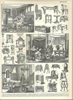 Lámina con ilustraciones de mobiliario y escena de la vida de los antiguos egipcios, romanos y bizantinos. #Esmadeco.