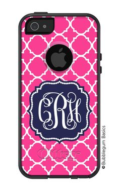 OTTERBOX Commuter iPhone 5 4/4S Case Hot Pink Lattice Navy Flourish 3 Letter Initials Personalized Monogram. $59.90, via Etsy.