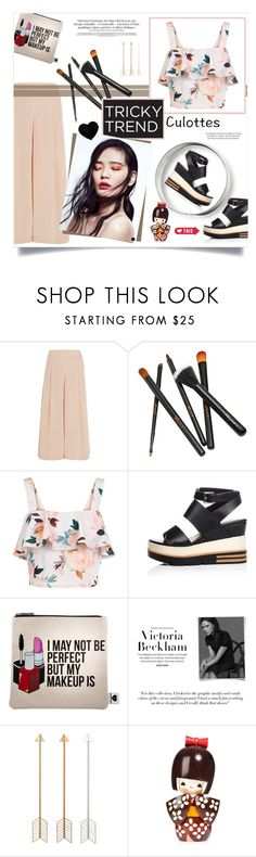 """""""Chic culottes"""" by pippi-loves-music ❤ liked on Polyvore featuring TIBI, New Look, Sephora Collection, Victoria Beckham and TrickyTrend"""
