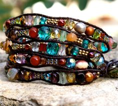 Leather wrap bracelet 5X stacking bracelet colorful glass beaded glitter boho high fashion gift for her. $85.00, via Etsy....gorgious