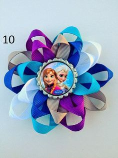 Frozen Disney Hair Bow.  Anna Elsa and Friends.  Bottle Cap Hair Bows on Etsy, $5.00