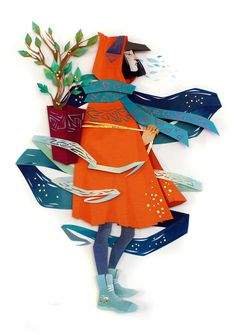 Glorious heroines in colorful paper sculptures