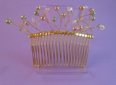 Green and Gold Vine Hair Comb for Weddings or Prom £12.00