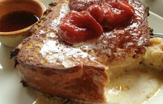 Custard French Toast with Roasted Strawberries from Nopa in San Francisco.