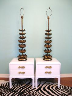 Vintage HOLLYWOOD REGENCY Pair Monumental Brass LOTUS James Mont Style Lamps