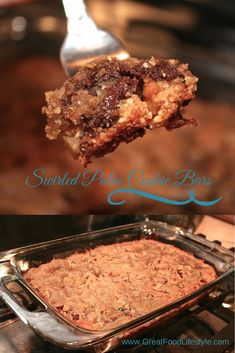 Swirled Paleo Cookie Bars. These cookie bars are rich, chocolatey, and gooey! Gluten free, low carb, and dairy free...but you won't ever know it by tasting them! I lost 8 sizes and reversed diabetes through diet and lifestyle. For more healthy, tasty recipes follow me on Pinterest and subscribe to www.GreatFoodLifestyle.com. #paleocookiebar