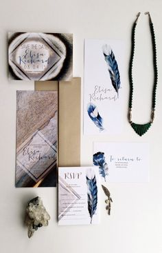 Stone & feather wedding invitation ideas by @DesignedWAmore