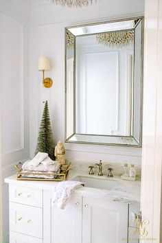 Christmas Home Tour 2017 - Silver and Gold Christmas guest bathroom/powder room dressed up for Christmas- Randi Garrett Design