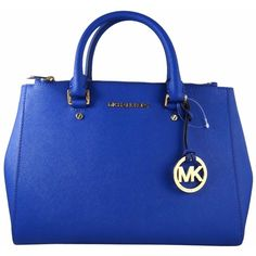 Pre-owned Michael Kors Michael Sutton Blue Saffiano Leather Medium... ($325) ❤ liked on Polyvore featuring bags, handbags, shoulder bags, electric blue, royal blue handbag, blue handbags, michael kors handbags, blue shoulder bag and pre owned purses