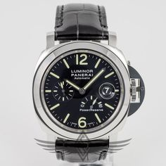 #Panerai PAM00090 Luminor Power Reserve 44mm Steel Case Black Dial Automatic Watch PAM90 #OCWatchCompany #WatchStore #WalnutCreek