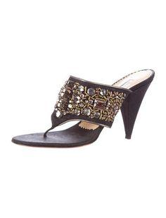 Blue Oscar de la Renta thong sandals with jewel embellishments, covered heels and metallic leather trim.