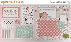 20% OFF TODAY Pre-made Baby Girl Scrapbook Page by ArtsyAlbums