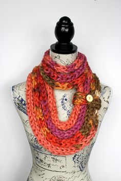 Girlfriend Gift - Knitted Necklace Scarf - Valentines Gift - Knitted Scarf - Gift For Her - Finger Knit Scarf - Chunky Infinity Scarf Womens