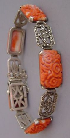 CORAL carved with flowers and marcasite links bracelet