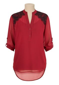Open Back Contrast lace Blouse (original price, $29) available at #Maurices