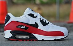 Nike Air Max 90 Sport Red: A new colorway in Nike's Air Max 90 arrives at Primitive. Outfitted with sport red accents, the sneaker sits atop a mostly white leather/mesh base. Air Max 2017 Bleu, Air Max 2017 Noir, Nike Air Max Tn, Air Max 90, Air Max Sneakers, Sneakers Nike, Black Sneakers, Nike Free Shoes, Nike Shoes Outlet