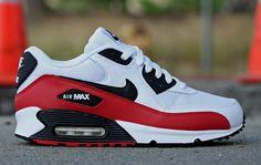 Street Giant » Nike Air Max 90 'White/Sport Red-Black' Nike Sneakers, Air Max Sneakers, Black Sneakers, Walking Shoes, Running Shoes, Nike Running, Lebron 11, Nike Lebron, Air Max 90