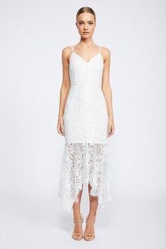 Shop the Shona Joy Lace High Neck Handkerchief Midi in Ivory. Fast Australia-wide & International shipping. Browse a huge range of colours & styles. 250+ dresses to shop.