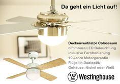 Der schicke Deckenventilator Colosseum mit LED-Beleuchtung jetzt zum günstigen Endlich-Sommer-Preis bei https://www.creoven.de/a-72420/