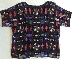 Vintage Sequined Beaded Top Size Medium Silk Black Multicolor Oversized Design #Unbranded #OversizedTop