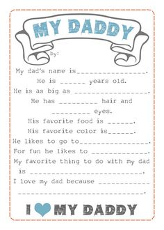 Fathers Day fill in the blanks Printable