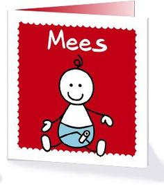 Dit vrolijke geboortekaartje van een baby in een luier vind je in de collectie Frisse geboortekaartjes op Kaartopmaat.nl.