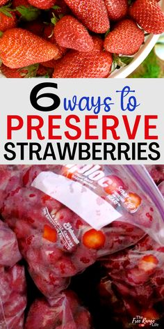 Strawberries are easy to grow yourself or find in bulk in the spring. Learn how to preserve strawberries to enjoy all year long. Includes 6 different ways to preserve strawberries! Freezing Strawberries, Dehydrated Strawberries, Frozen Strawberries, How To Preserve Strawberries, Easy Strawberry Preserves Recipe, Strawberry Recipes, Preserving Zucchini, Preserving Food, Pressure Canning Recipes