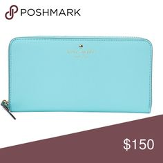 "KATE SPADE BRIGHTSPOT AVE LACEY LEATHER WALLET Color is fresh air. 8W X 4"" L X 1"" D EUC.             PWRU3025 kate spade Bags Wallets"