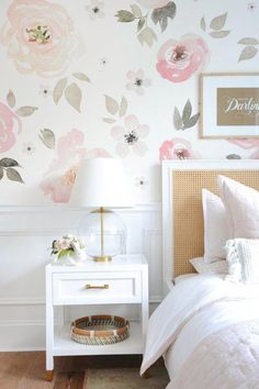 floral wallpaper and half molding on the wall, nightstand styling, pink blush and white and gold girl bedroom. white and wicker rattan bed, simple blush girl bedroom ideas. bedroom My Full Home Tour - Monika Hibbs Big Girl Bedrooms, Little Girl Rooms, Bedroom Girls, Girls Bedroom Wallpaper, Light Pink Girls Bedroom, Girls Flower Bedroom, Girl Toddler Bedroom, Simple Girls Bedroom, Childrens Bedrooms Girls