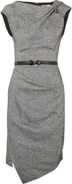 MICHAEL KORS Draped Wool and Silkblend Tweed Dress. Amazing! I'm in love.