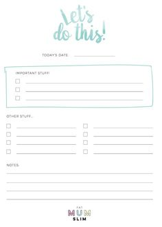 Free Printable Daily Planner at Fat Mum Slim