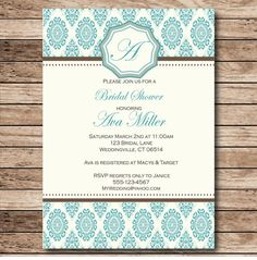Monogram Teal Blue elegant Baroque Invitation by WindowShopDesigns, $10.00