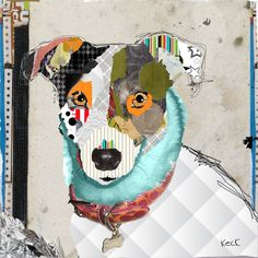 short hair chihuahua abstract collage art