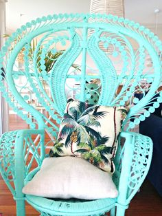 Love this chair! Maybe with a white lace cushion instead... Image via Scandi Coast